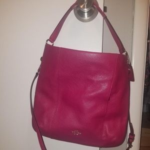 Deep Pink Leather Cross Body Bag
